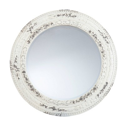 "31.5"" x 31.5"" Round Morsea Decorative Wall Mirror Whitewashed - Southern Enterprises"