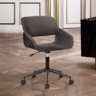 Lowell Mid Century Faux Leather Task Chair Gray - Armen Living