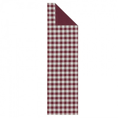 Kate Aurora Country Farmhouse Living Reversible Buffalo Plaid/Solid Table Runners