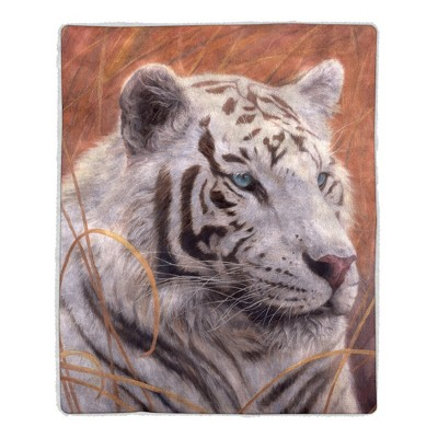Sherpa Fleece Throw Blanket - White Tiger Print Pattern, Lightweight Bed or Couch Soft Plush Blanket for Adults and Kids by Hastings Home