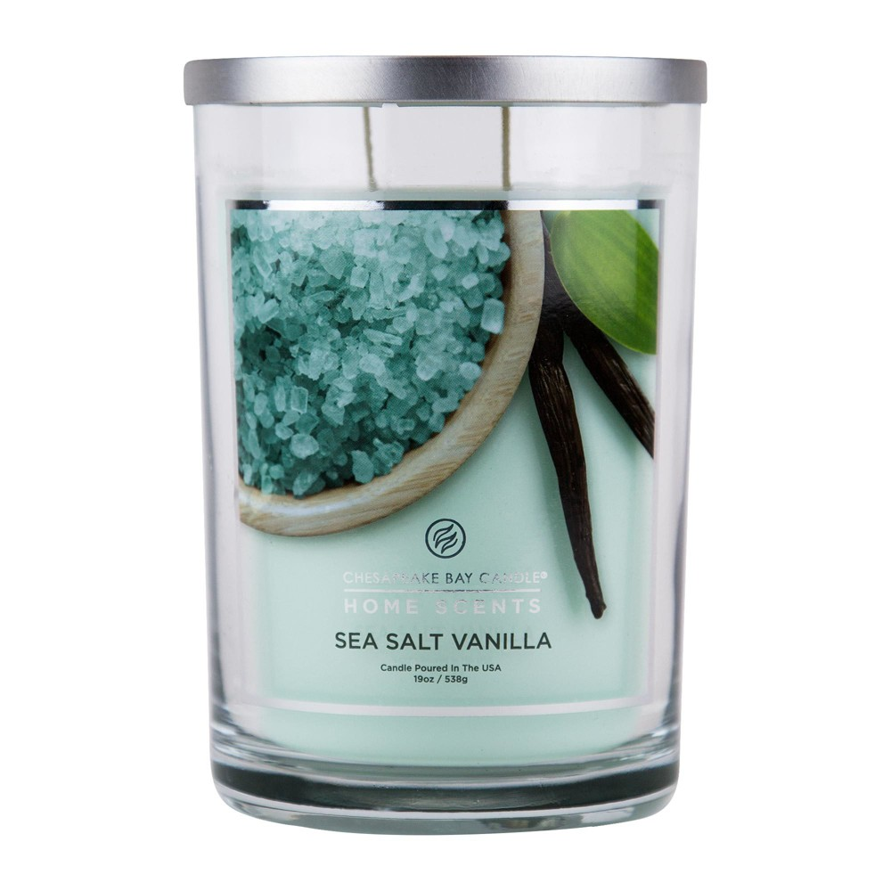 Image of 19oz Pillar Candle Sea Salt Vanilla - Home Scents By Chesapeake Bay Candle