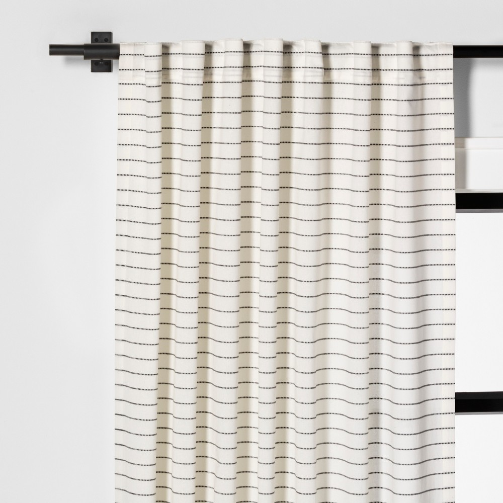 Image of 108 Curtain Panel Blanket Stitch Sour Cream / Railroad Gray - Hearth & Hand with Magnolia, Gray White
