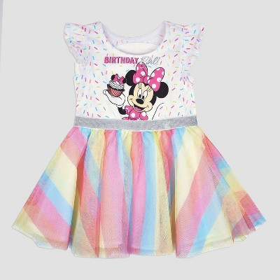 Toddler Girls' Disney Mickey Mouse & Friends Minnie Mouse Birthday Girl Dress - White