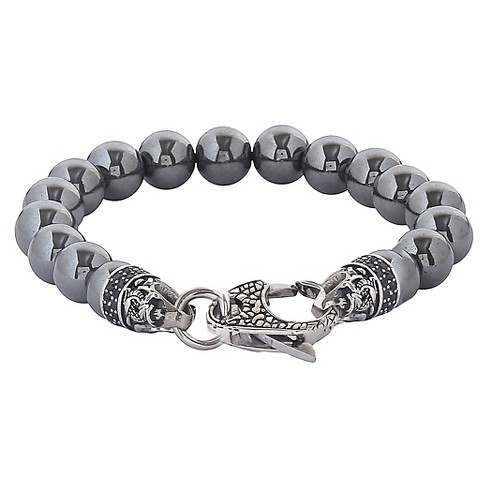 Men S Crucible Stainless Steel Dragon With Polished Hemae Onyx Beaded Bracelet Target