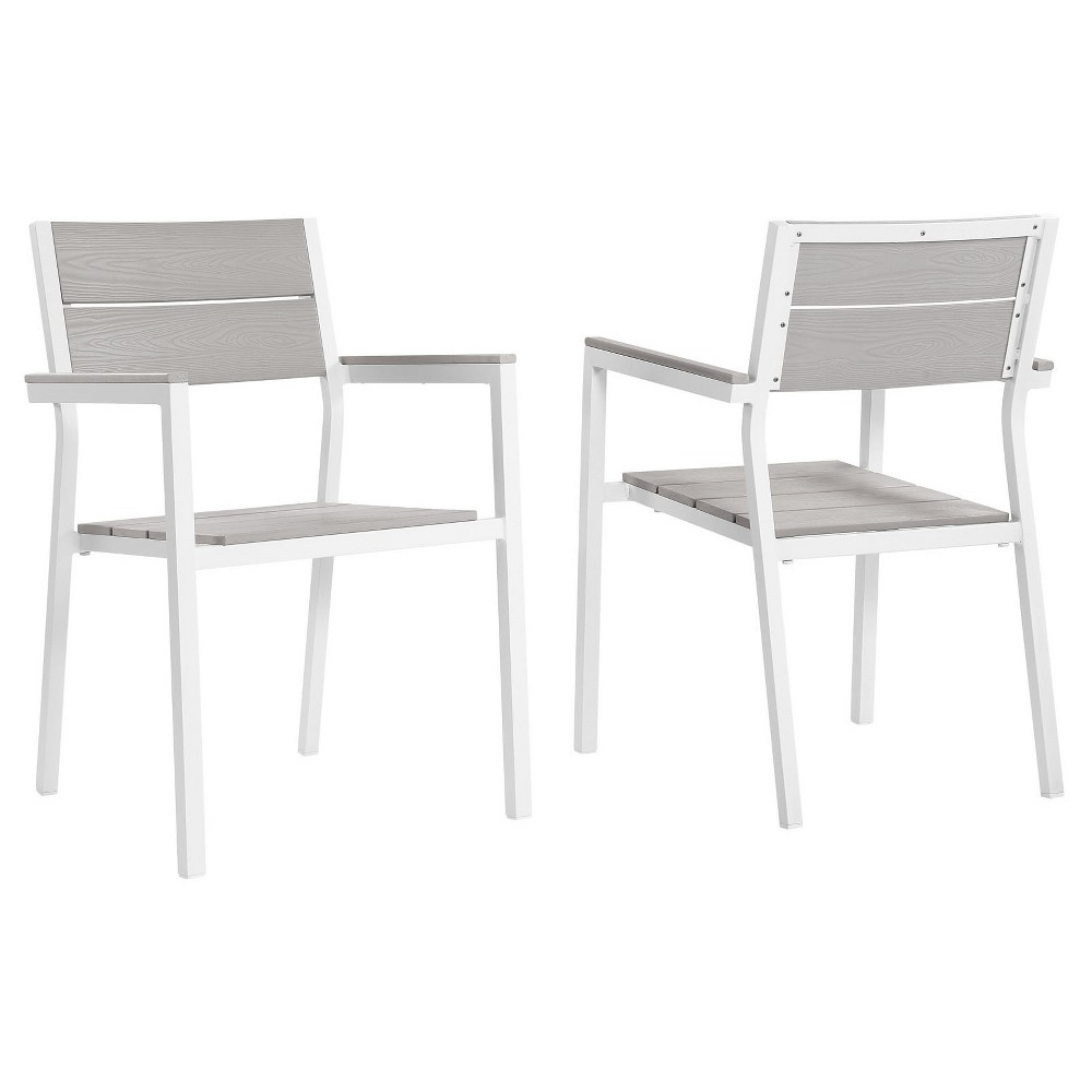 Maine Dining Armchair Outdoor Patio Set of 2 in White Light Gray - Modway
