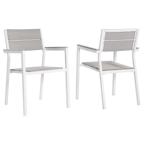 Maine Dining Armchair Outdoor Patio Set of 2 in White Light Gray - Modway - image 1 of 5