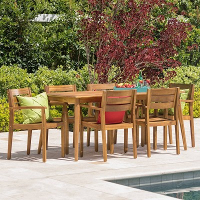 Stamford 7pc Acacia Wood Rectangle Dining Set Teak - Christopher Knight Home