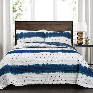 Full/Queen 3pc Jane Shibori Quilt Set Navy - Lush Décor