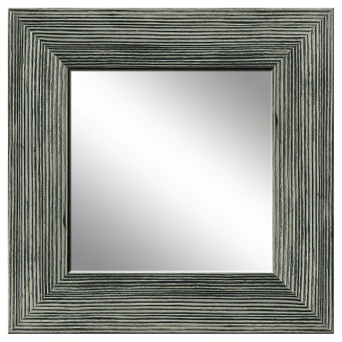 Square Natural Recovered Wood Decorative Wall Mirror Gray - PTM Images - image 1 of 2