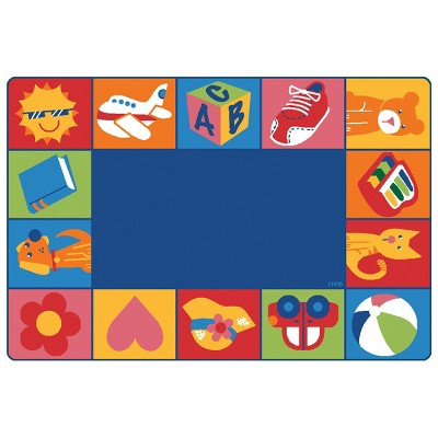 4'x6' Rectangle Woven Animal Icon Area Rug Blue - Carpets For Kids