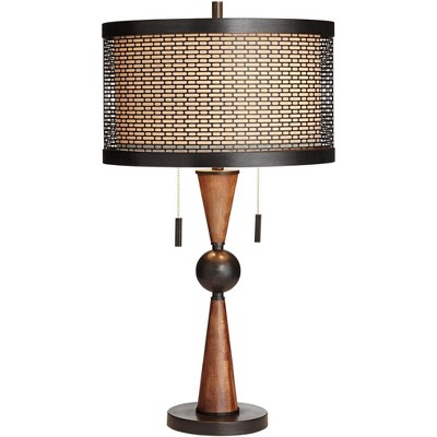 Franklin Iron Works Mid Century Modern Table Lamp Wood Bronze Metal Shade for Living Room Family Bedroom Bedside Nightstand Office