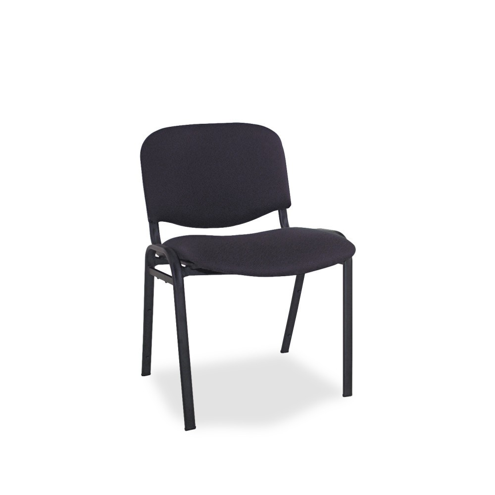 Image of Alera Continental Series Stacking Chairs, Black Fabric Upholstery, 4/Carton