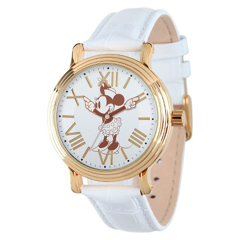Women's Disney® Minnie Mouse Shinny Vintage Articulating Watch with Alloy Case - White - image 1 of 2