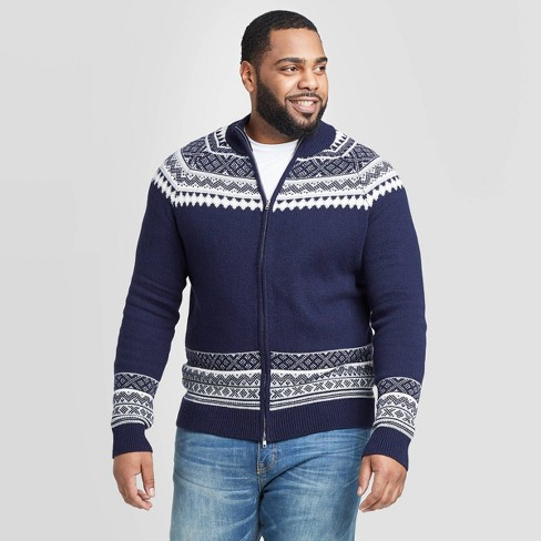 Men's Big & Tall Fairisle Holiday Sweater - Goodfellow & Co™ Navy - image 1 of 3