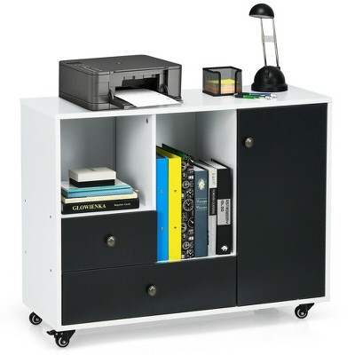 Costway Lateral Mobile Filing Cabinet Large Printer Stand w/ 2 Drawers