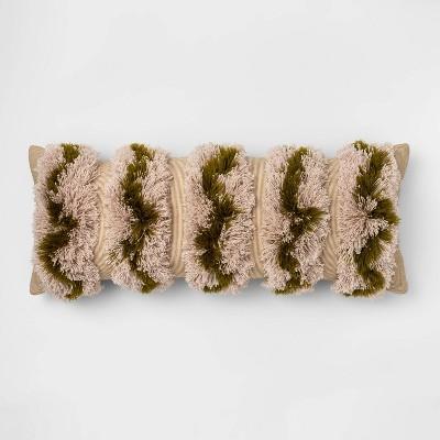Oversize Moss Tufted Stripe Lumbar Pillow Green - Opalhouse™