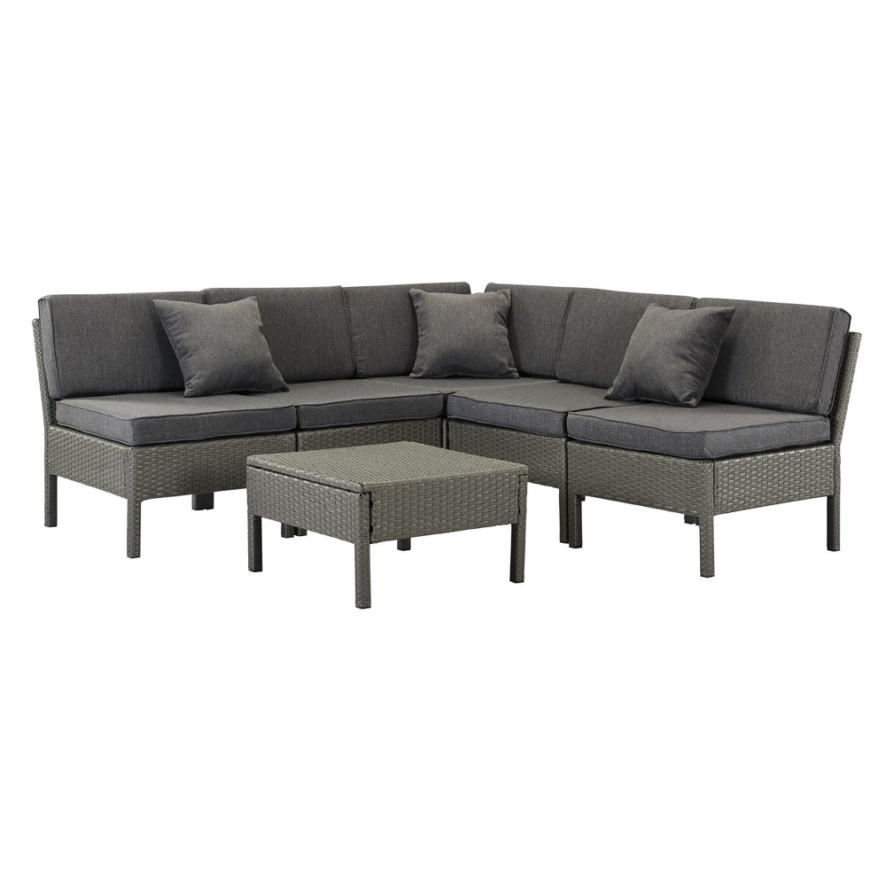 Image of 6pc Florence Wicker Lounge Set Gray - DH Casual
