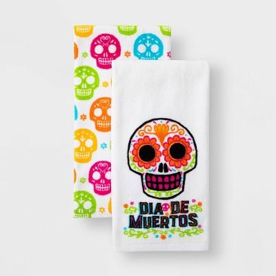 2pk Día de Muertos Sugar Skull Terry Kitchen Towel