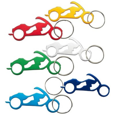 Juvale 12 Pack Keychain Bottle Openers, Portable Beer Bottle Opener with Motorcycle Bike Design for Wedding and Party Favor (6 Colors)