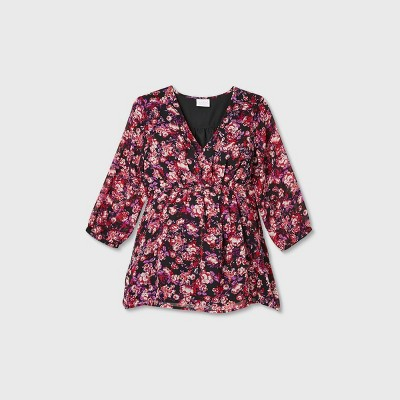 Maternity Floral Print 3/4 Sleeve Button Chiffon Woven Blouse - Isabel Maternity by Ingrid & Isabel™