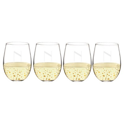 Cathy's Concepts 19.25oz Monogram Gold Dots Stemless Wine Glasses N - Set of 4