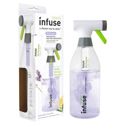 Casabella Infuse All Purpose Cleaner - 1 Refillable Spray Bottle 1 Cleaning Spray Concentrate - Lavender Lemon
