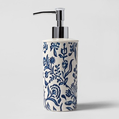Ceramic Glazed Pattern Soap/Lotion Dispenser Blue - Threshold™