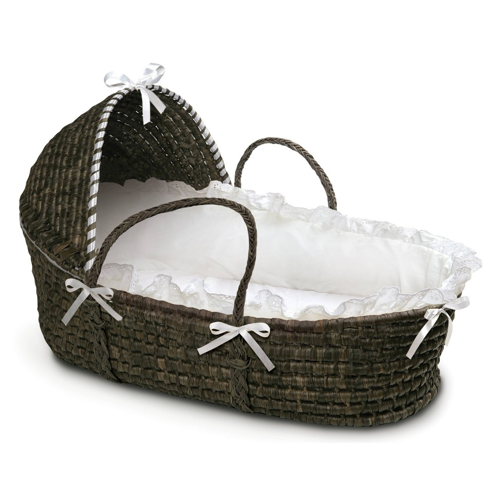 Badger Basket Espresso Moses Basket with Hood Bedding - White, Espresso Brown Keep your newborn comfortable and close-by at home or when visiting friends! Badger Basket's pretty Hooded Moses Basket allows your infant to snooze near you wherever you are. Everything you need is in the box - basket, hood, and bedding. No tools needed. Color: Espresso Brown. Gender: Unisex.
