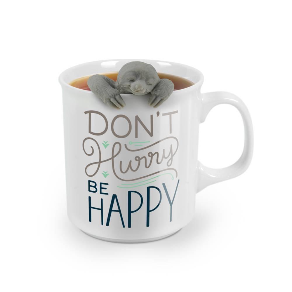 "Image of """"""Don't Worry Be Happy"""" Sloth Print Tea Mug"""