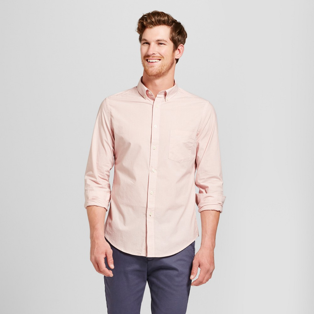 Men's Slim Fit Long Sleeve Northrop Button-Down Shirt - Goodfellow & Co Always Rosy M, Pink