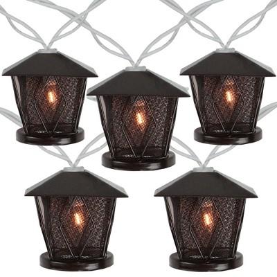 Northlight 10 Candle Lantern Summer Garden Patio Lights - 7.1 ft White Wire