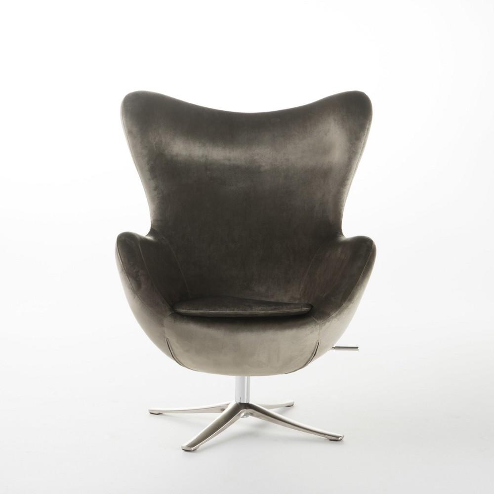 Gordon New Velvet Swivel Chair - Gray - Christopher Knight Home