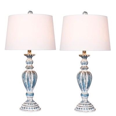 Distressed Candlestick Resin Table Lamps in Cottage Antique Blue  - Fangio Lighting