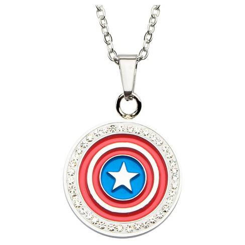 "Women's Marvel Captain America Shield Stainless Steel Pendant with Chain and Clear CZ (18"") - image 1 of 2"