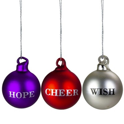 """Northlight Set of 3 Purple, Red and Silver Inspirational Christmas Ball Ornament Set 2.5"""""""