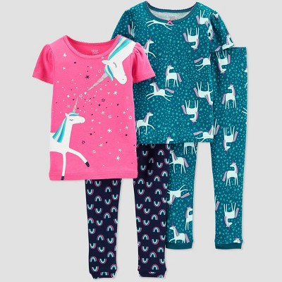 Baby Girls' 4pc Unicorn Pajama Set - Just One You® made by carter's Pink 12M