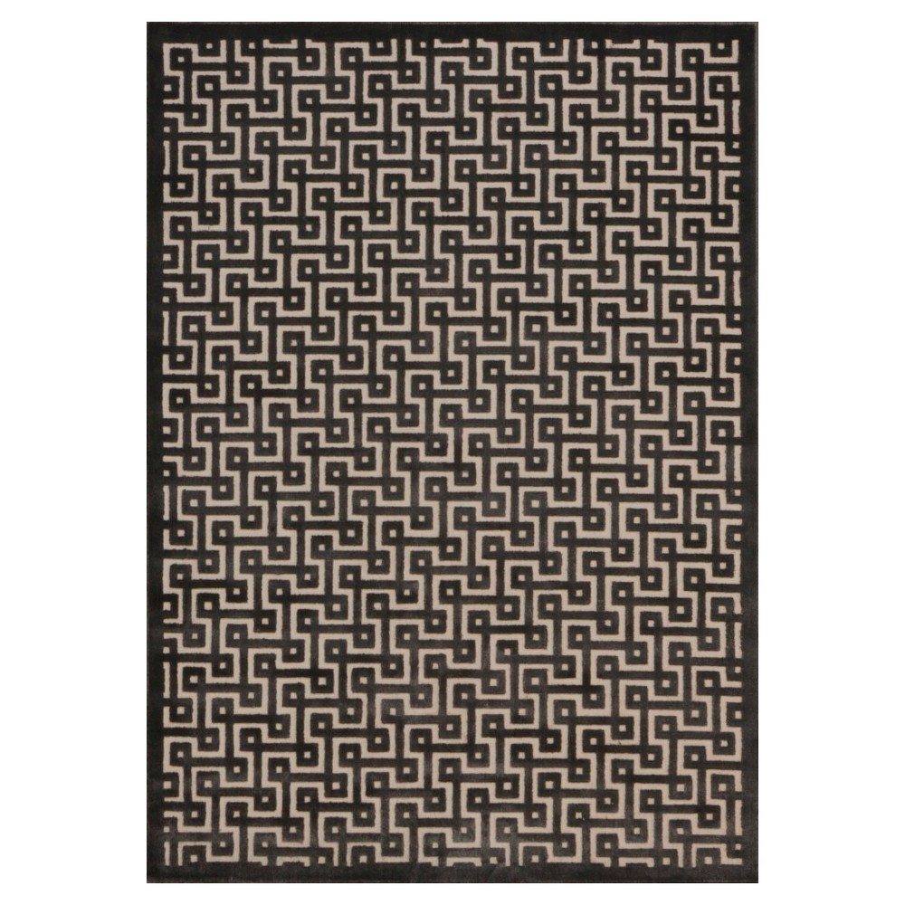 "Image of ""Nourison Geometric Ladder Ultima Area Rug - Ivory/Charcoal (Ivory/Grey) (5'3""""X7'3"""")"""