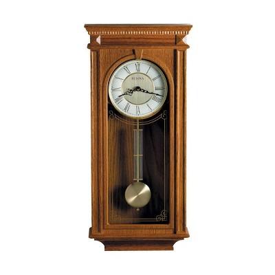 Bulova Clocks C4419 Manorcourt 3 Tune Chiming Indoor Wood Frame Decorative Wall Clock, 2 Tone Metal Dial, Oak Brown