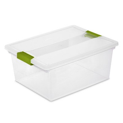 Sterilite Deep Clip Box Clear with Jade Latches