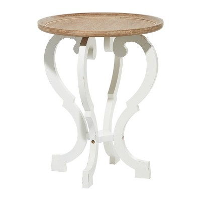 Farmhouse Carved Wood Accent Table Brown - Olivia & May