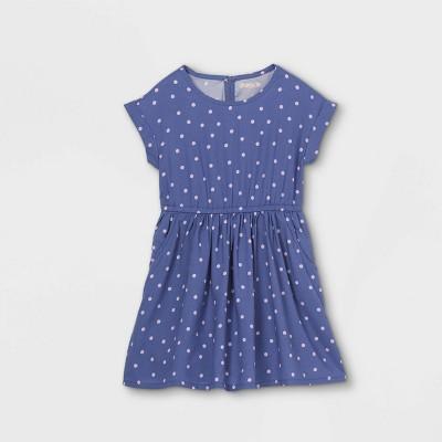 Girls' Printed Short Sleeve Woven Dress - Cat & Jack™