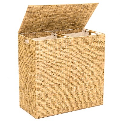 Best Choice Products Extra Large Natural Woven Water Hyacinth Double Laundry Hamper Basket w/ 2 Liner BagsHandles