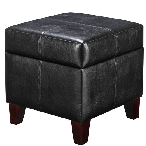 Carson Small Cube Faux Leather Storage Ottoman Black - Dorel Living - image 1 of 2