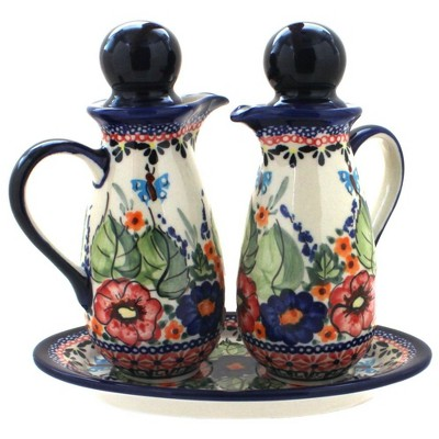 Blue Rose Polish Pottery Floral Butterfly Oil & Vinegar Set