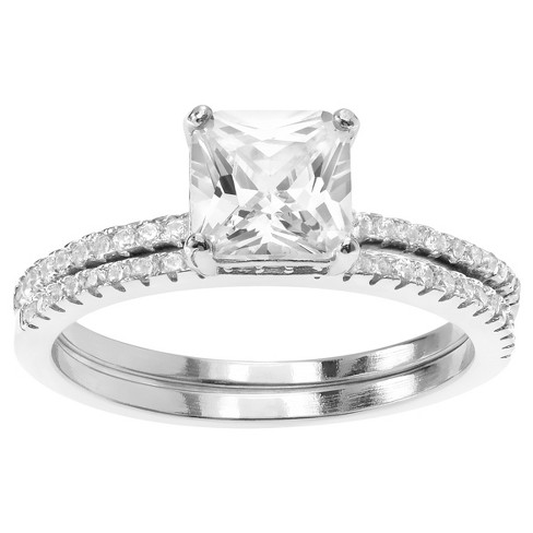 1 CT. T.W. Square-cut Cubic Zirconia Wedding Prong Set Ring Set in Sterling Silver - Silver - image 1 of 2