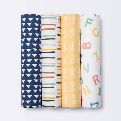 Flannel Baby Blankets Primary - Cloud Island™ 4pk