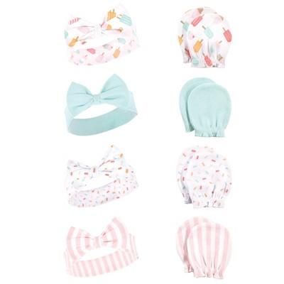 Hudson Baby Infant Girl Cotton Headband and Scratch Mitten Set, Ice Cream, 0-6 Months
