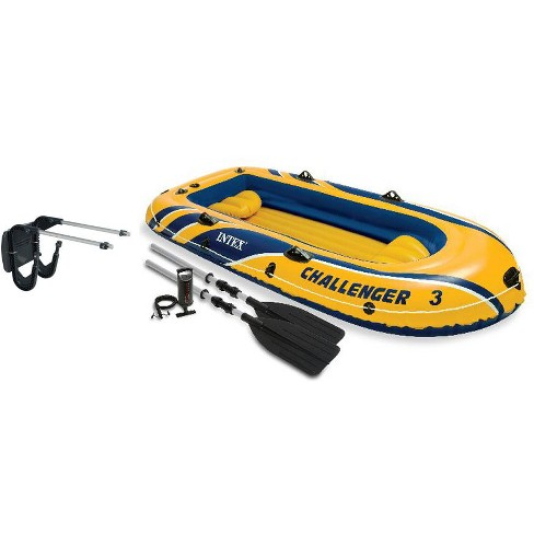 Intex Challenger 3 Boat 2 Person Raft & Oar Set Inflatable with Motor Mount Kit - image 1 of 6