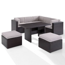 Palm Harbor 8pc Outdoor Wicker Seating Set - Gray - Crosley