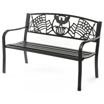 "Gardenised Steel Outdoor Patio Garden Park Bench with Cast Iron ""American Flag"" Backrest"